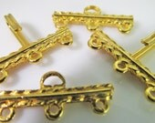 4 Vintage 21mm Textured Gold-Plated Brass Three Strand Hook Clasp Sets Cl80