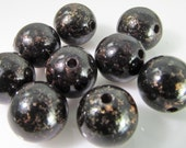 30 Vintage 10mm Black and Antiqued Copper Lucite Beads Bd1198