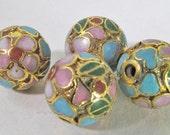 6 Vintage 10mm Round Floral Gilt Cloisonne Bead Bd1475