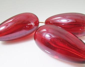 8 Vintage 26mm Lucite Transparent Red Teardrop Beads Bd1226