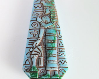 2 Vintage Egyptian Revival-Style Heiroglyphic Motif Turquoise Blue Glass Cabochon Cb69