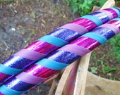 Om Nom Nom Delicious Berries - Collapsible Weighted Travel Beginner Hula Hoop  - Glitter, blue, purple, fuchsia, teal, sequin