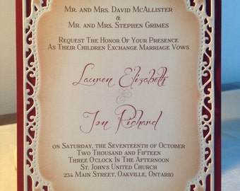Beautiful Die Cut and Embossed Wedding Invitation