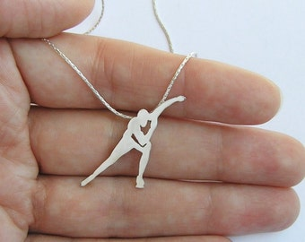Speed Skating Necklace Pendant - Ice Skater Silhouette Pendant -  Ice Skate Jewelry - Sterling Silver - Hand Cut