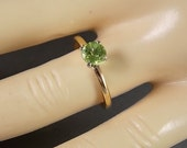 Peridot Solitaire Ring .60Ct Yellow Gold 14K 2gm size 6 August Birthstone Ring Classic style