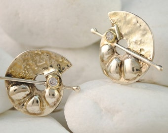 """Solid Sterling Silver and 18K Gold Zirconia """"Galaxy"""" Clip On Earrings"""