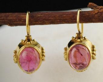 Pink Tourmaline, Solid 18K Gold Byzantine Dangle Earrings