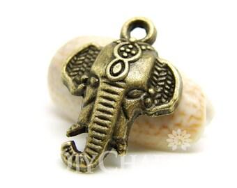 Antique Bronze Tone Elephant Head Charms 23x17mm - 20Pcs - DC00110