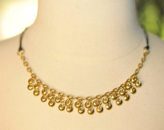 Handmade Vintage Brass Discs and Leather Choker Necklace