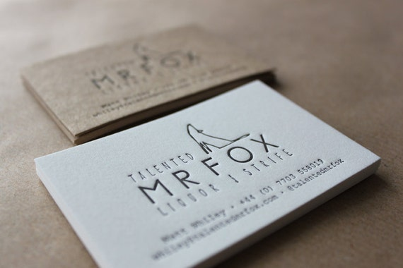 Letterpress business cards on natural white cotton stock like this item reheart Image collections