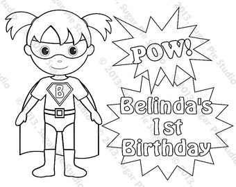 personalized printable superhero super hero girl birthday party favor childrens kids coloring page book activity pdf or jpeg file - Superhero Coloring Pages Kids