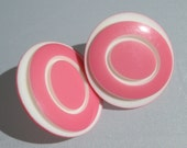 Lucite Earrings- Pink and White Lucite Earrings - Pierced Backs
