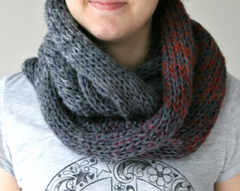 Gray Infinity Scarf with Fringes with Burgundy - Spring Fall Winter Fashion - Women Teens Accessories