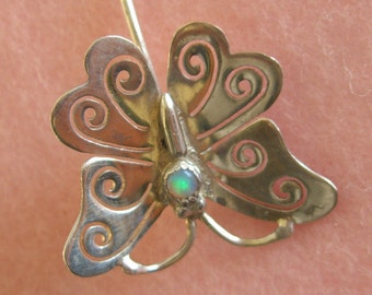 Sterling Silver Opal Butterfly Stick Pin Vintage Antique 1940s