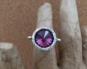 February BIRTHSTONE Ring - AMETHYST Swarovski Crystal Rivoli - Purple - Antique Silver - Pewter Ring - Valentine - Adjustable - USA Made