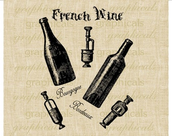 French wine bottles Cork openers instant digital clip art download image for iron on fabric burlap transfer decoupage pillow tote No. 2135