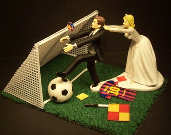 NO Soccer Football Futbol FIFA Running Bride and Groom with Goal Wedding Cake Topper World Cup Funny
