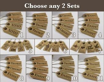 8 Rustic Gift Tags, Small Kraft Tags - choose 2 sets