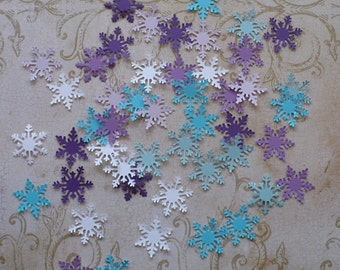 40 Pc Martha Stewart Small Snowflake Punchies White Purple Lavendar Aqua Blue Cardstock Crafts Frozen Birthday Projects Tags Banners Bags