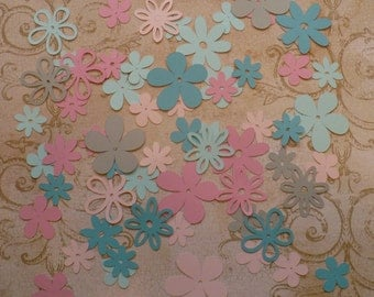 Assorted Cricut Die Cut Flowers / Blooms over 50 pieces Embellishments Made from Dreamy cardstock colors