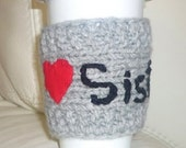 Coffee Cup Cozy, travel cup cozy, Mug Cozy, Gift for Sister, Mug Cozy Personalized , I love Sister , red heart, grey color