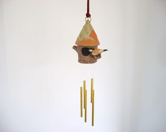 windchime, ceramic windchime, birdhouse and sparrow windchime