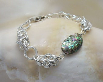 Abalone and Argentium Cloud Chainmaille Bracelet