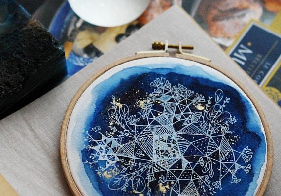 Constellation Gardens, Embroidery Hoop Art, Original Watercolor Painting, Indigo Geometric Nature, Floral Art, Wall Decor, 6.5''