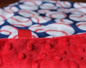 Minky Lovey Blanket Baseball Print Minky with Red Dimple Dot Minky Backing - great for a new baby, tag blanket