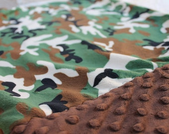 Travel Pillowcase - Camo Print Minky with Brown Dimple Dot Minky Border - great for a Toddler or Travel Pillow