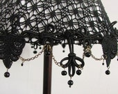 Black and White  Gothic style table lamp  , black lace on White  fabric  with black glass beads