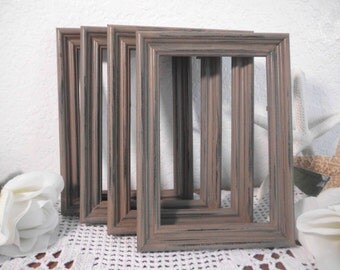 Rustic Brown Frame Shabby Chic Distressed 4 x 6 or 5 x 7 Picture Photo Table Number Wedding Decoration Country Home Decor Gift For Her Him