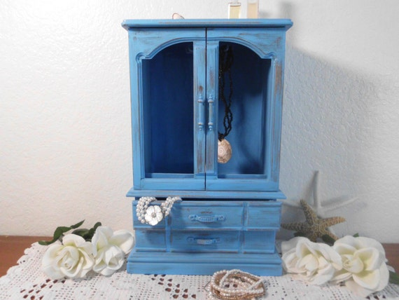 Blue Jewelry Box Rustic Aqua Turquoise Shabby Chic Distressed Beach Cottage Tropical Island Coastal Seaside Home Decor Birthday Gift For Her