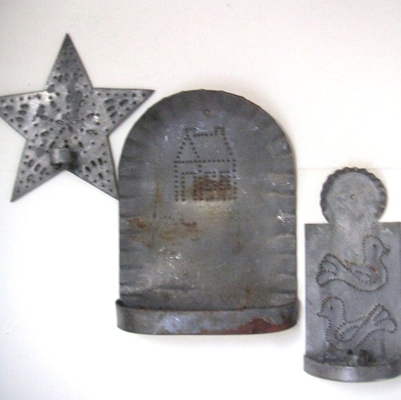 Handmade Metal Wall Sconces : Vintage Handmade Metal Tin Wall SconceCandle by QVintage on Etsy
