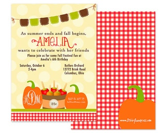 Fall Birthday Party Invitation (Fall Party, Apple Party, Pumpkin Party Invitation, Pumpkin Patch Party, Apple of my Eye Party, Monogram)