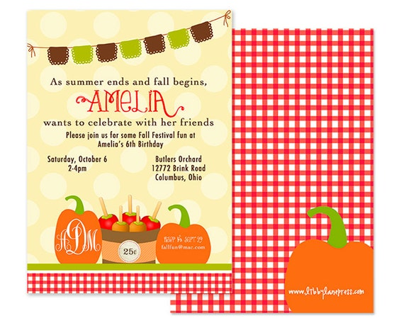 Fall Birthday Party Invitation Fall Party Apple Party Pumpkin