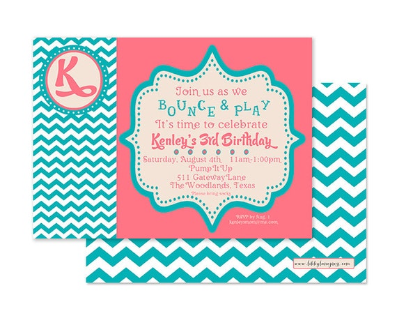 BOUNCE HOUSE BIRTHDAY Invitation, Pink and Teal, Printable