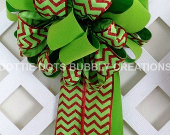 Lime & Red Tree Topper Bow