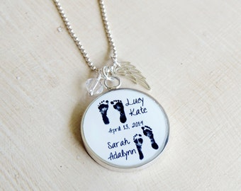 Baby Footprint Necklace - Mother's Necklace - Angel Baby - Mothers Day Jewelry - Infant Loss Jewelry - Mom Necklace - Memorial Necklace
