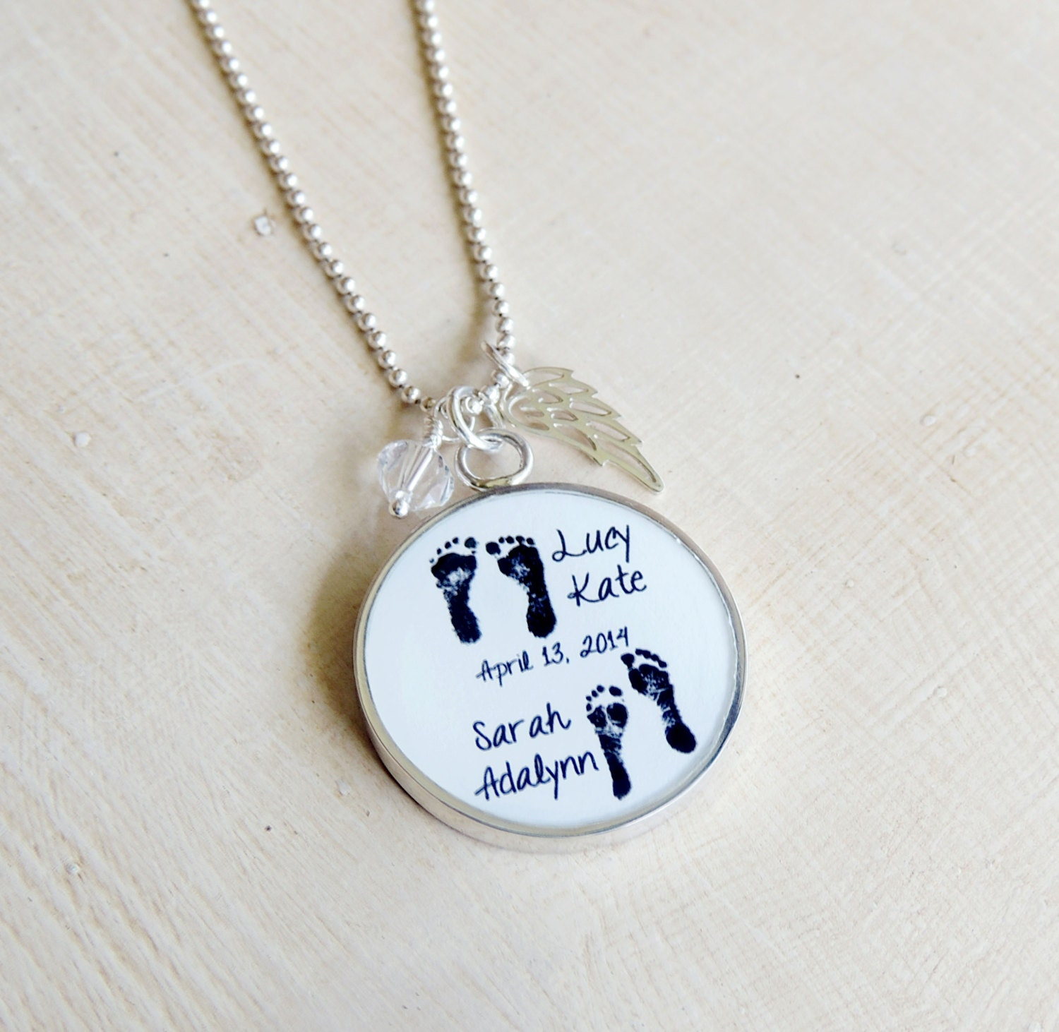 baby footprint necklace mother 39 s necklace angel baby