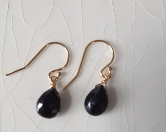 Black Spinel Drop and Gold Filled Pear/Briolette Earrings