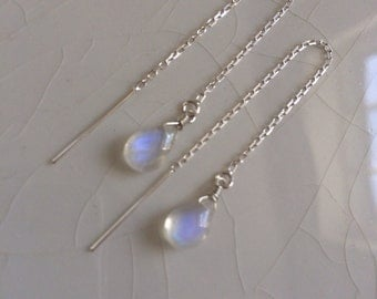 20% off plus Free Shipping - Tiny Smooth Rainbow Moonstone Pear/Briolette Drop Sterling Silver Threader/Ear Thread  Earrings