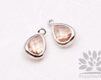 F121-S-CH// Silver Plated Champagne Faceted Teardrop Glass Pendant, 2 pcs
