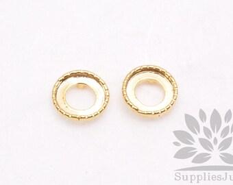 E223-01-G// Gold Plated 8mm Bead Cap Earring Post, 4pcs