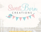 Premade logo design professional photographer logo boutique logo - cute bird with bunting logo