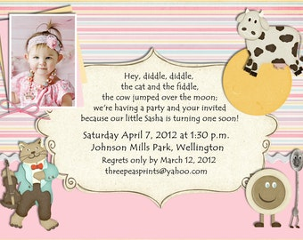 Nursery Rhyme Birthday Invitation - Mother Goose Theme Printable Photo Card