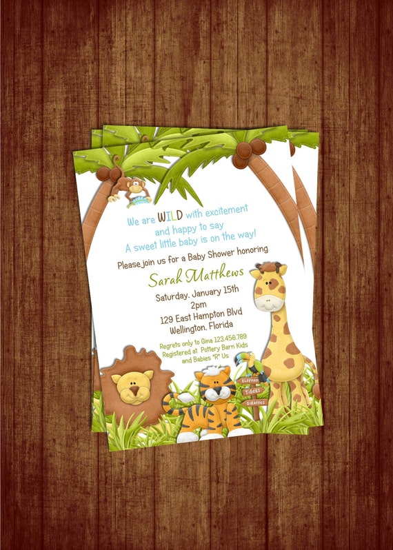 Jungle Theme Baby Shower Invitation - Baby Boy Lion Giraffe Monkey Animal Invite