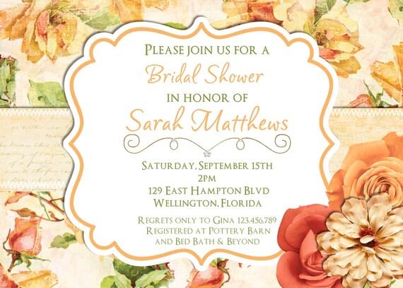 Vintage Rose Floral Wedding Shower Invitation