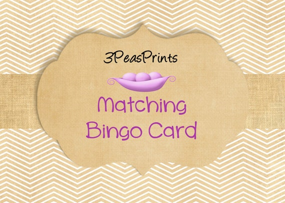 Custom Matching Baby Shower Bingo Game Cards Printable Digital File