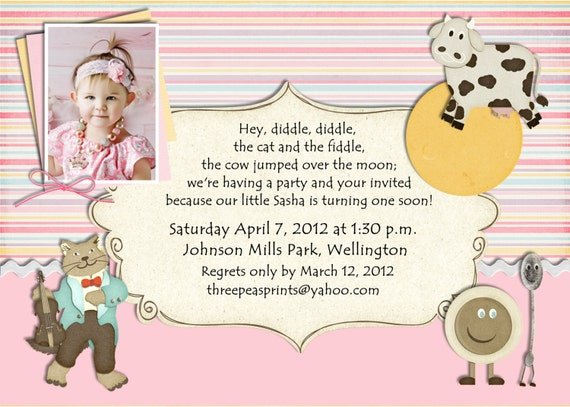 Nursery Rhyme Birthday Invitation Mother Goose Theme – Birthday Invite Rhymes